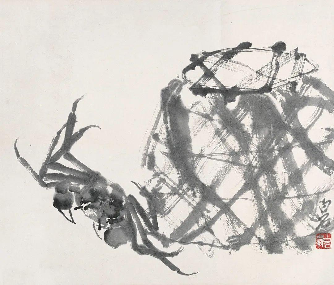 蟹篓 齐白石 33×38.5cm 北京画院藏