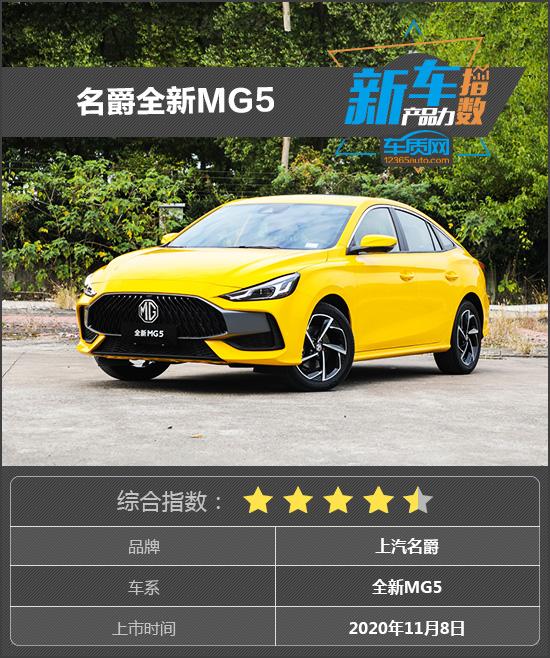 新车产品力指数:名爵全新MG5