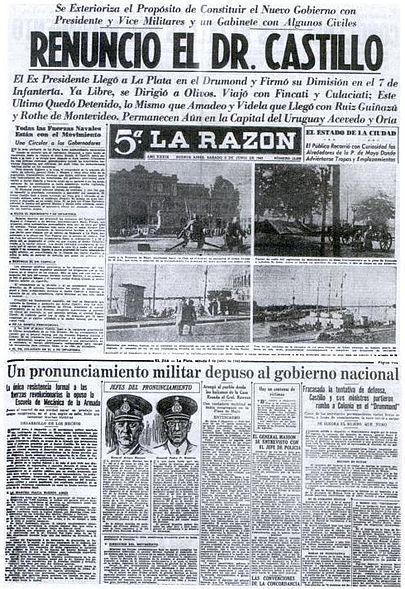 1930年,一份宣布政变开始的报纸。