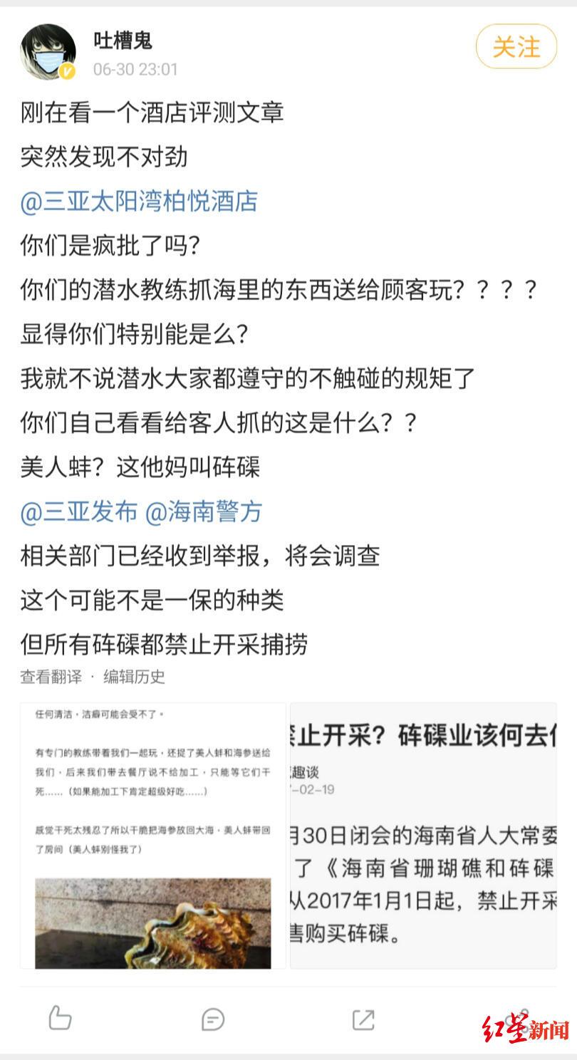 【西风亚洲天堂】_知名演员举报三亚一酒店非法捕捞国家二级保护动物