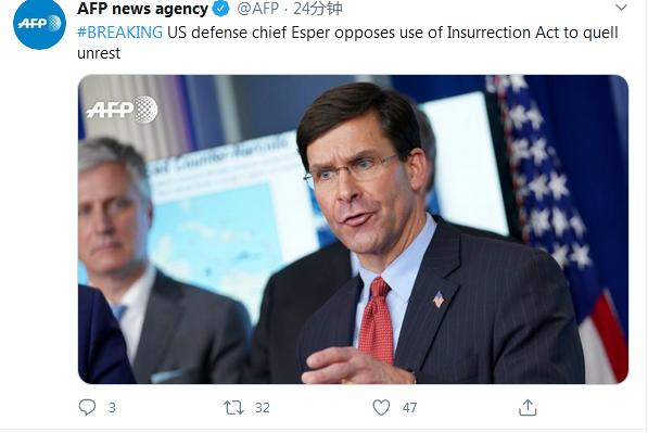 【二丁目的拓也】_特朗普称将动用《叛乱法案》召集军队平息骚乱,美国防长:反对