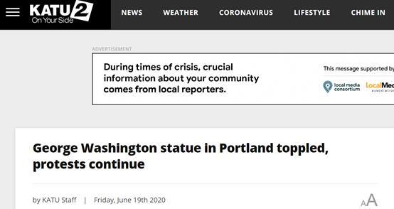 KATU:波特兰的乔治华盛顿雕像倒塌,抗议活动继续