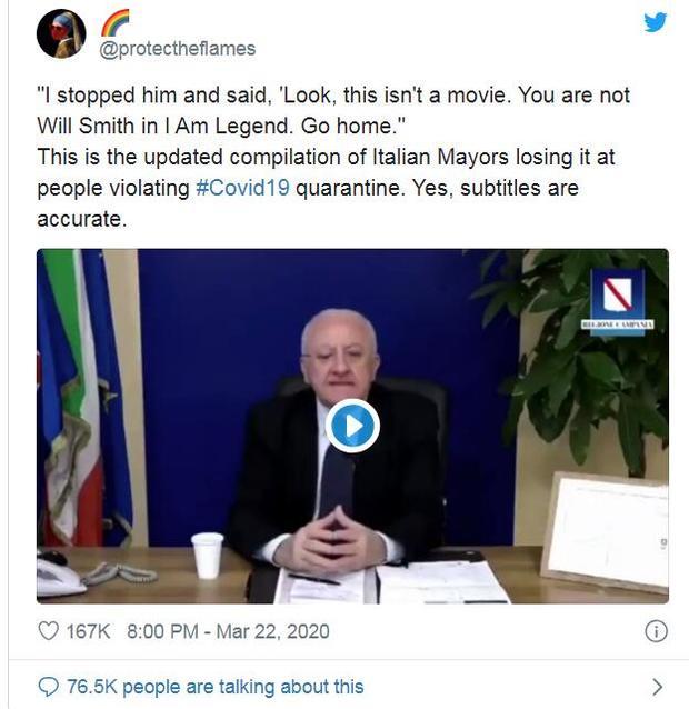 意大利市长怒怼市民:你不是威尔史密斯,快回家!