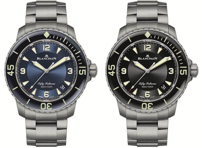 宝珀五十噚系列钛合金潜水自动腕表,黑色、蓝色两种表盘可选