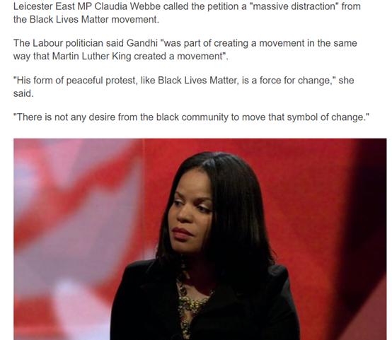▲截图来自BBC的报道,图中的女子为反对移除甘地雕像的莱切斯特城的黑人女议员