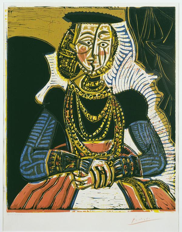 毕加索,《一幅小克拉纳赫后的女子肖像》,1958年,纸本