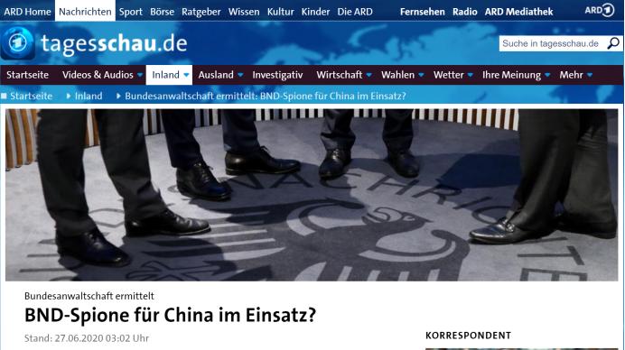 """德媒:德国联邦检察院正调查中国是否""""策反""""两名德国间谍"""