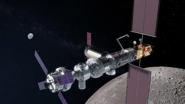 【地月轨道空间站想象图,它离月球更近】