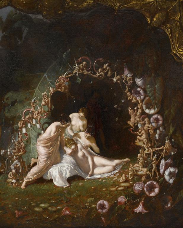 理查德·达德(Richard Dadd,1817-1886)的作品《沉睡的提泰妮娅》(Titania Sleeping),现收藏于法国巴黎卢浮宫。维基百科 图