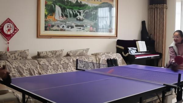 """客厅改乒乓球室,全家宅着""""苦练""""球技"""