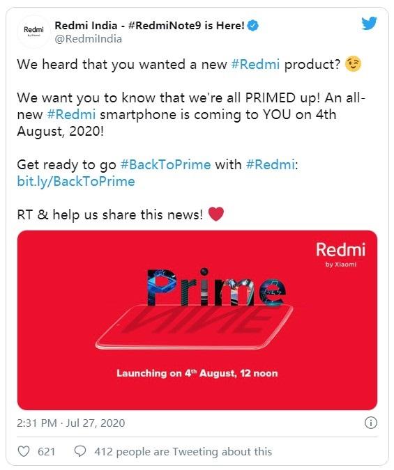 Redmi Prime新机将于8月4日印度发布