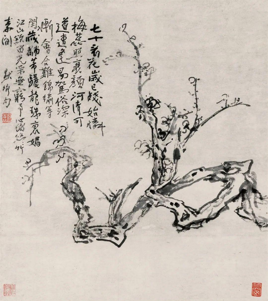 墨梅 黄宾虹 47.2×42.4cm 浙江省博物馆藏
