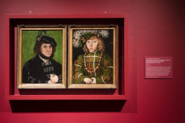 克拉纳赫,《坚定者约翰(1468-1532)和他的儿子约翰·弗雷德里克(1503-1554)》,1509,木版油画,伦敦国家美术馆藏