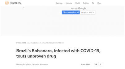 """【汕头网站优化】_第二次检测仍是阳性后,巴西总统再次力推""""神药""""羟氯喹:很管用"""