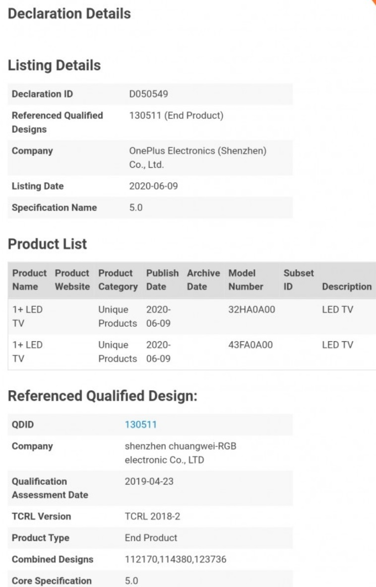 32 英寸和 43 英寸一加电视经过认证,起价低于 265 美元 265美元