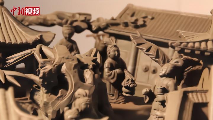 甘肃:砚台重达1吨 雕刻《红楼梦》场景