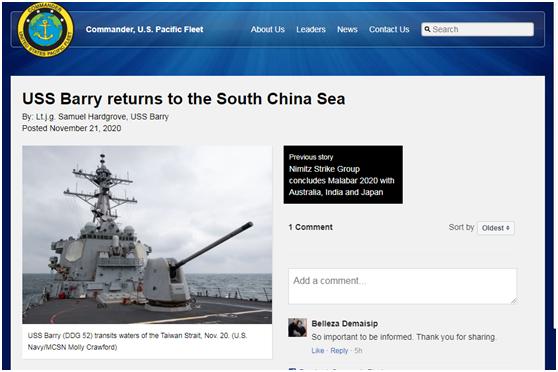 """【彩乐园app登dsn393丶com】_美海军高调宣布""""巴里""""号驱逐舰重返南海,还宣称将""""促进和平与稳定"""""""