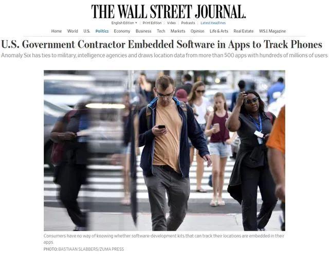 据《华尔街日报》报道,美国公司Anomaly Six近日将其软件植入逾500款APP。图源:华尔街日报