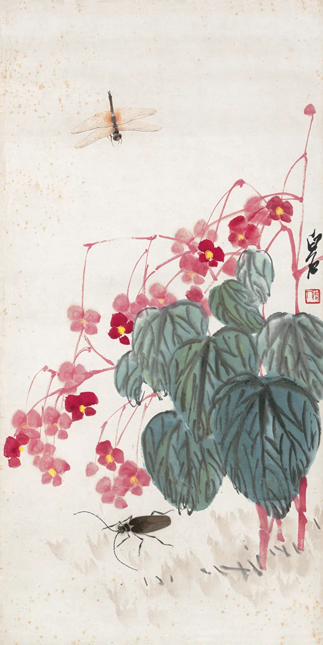 草虫秋海棠 齐白石 68×33.5cm 北京画院藏