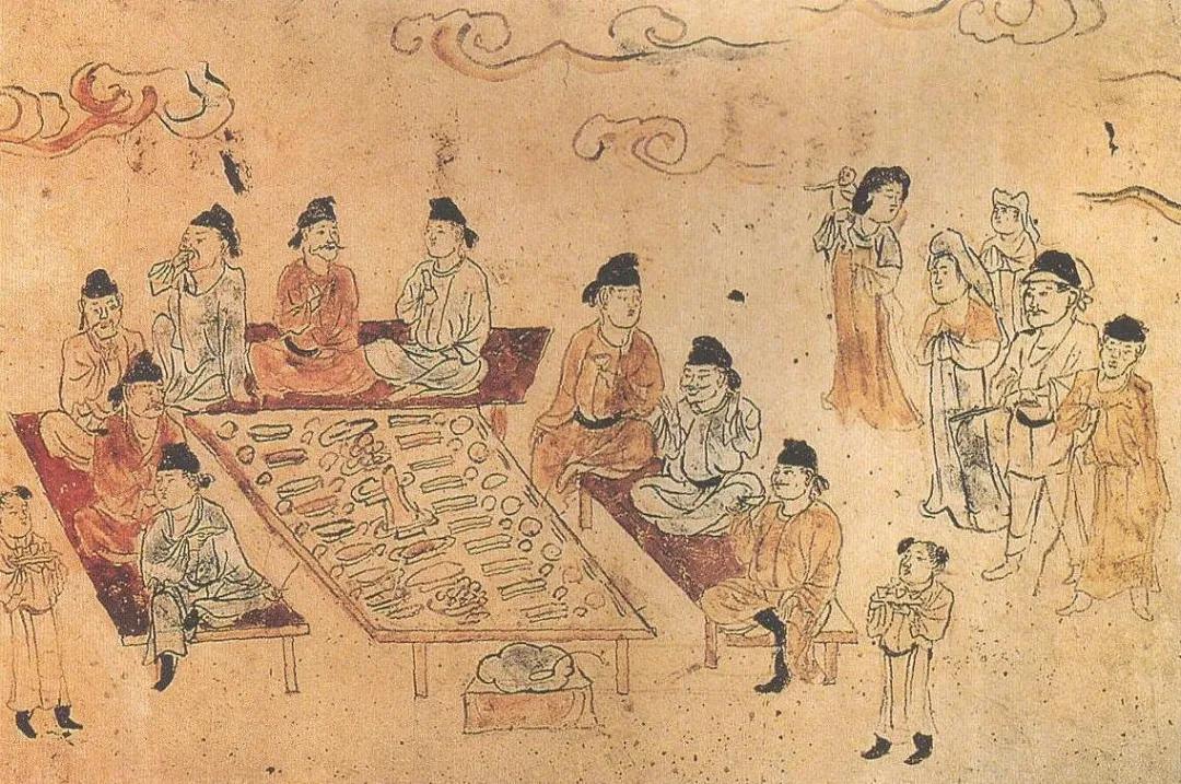 上图_ 宴饮图,中唐前期,可以清楚看到摆放整齐的筷子,以及置于盆中的曲柄勺