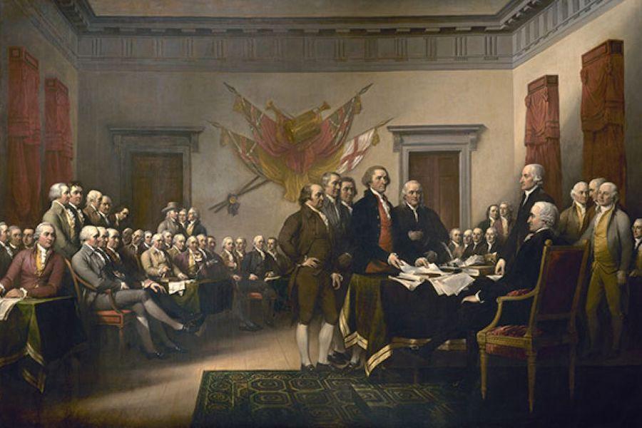 由约翰·特朗布尔创作的油画《独立宣言》。