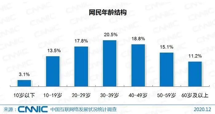 截至2020年12月,我国网民年龄结构。图片来源:CNNIC