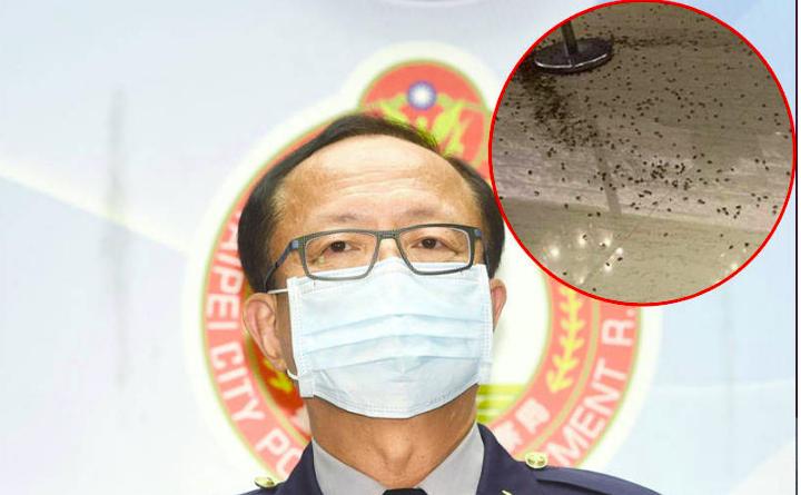 台北市警局长陈嘉昌3日晚出席大安区卧龙义警中队聚餐,在他抵达前有2名男子闯入餐厅,拿着两大袋蟑螂乱丢。图自台湾《自由时报》