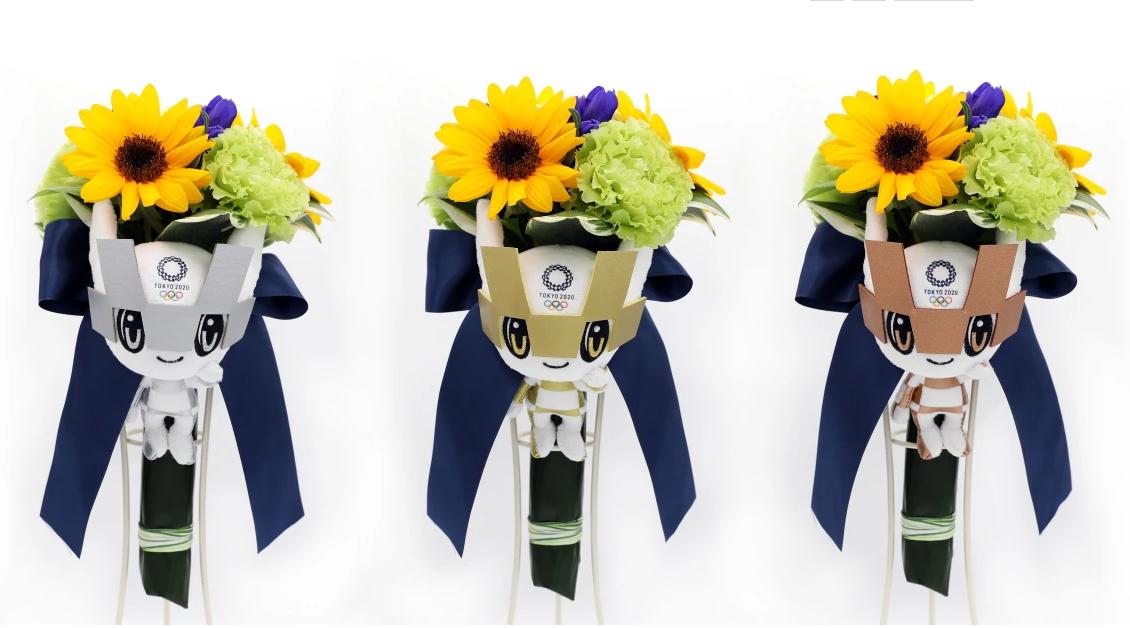 颁奖花束花材主要来自日本大地震重灾区。(图/东京奥组委官网)
