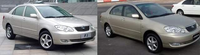 左为比亚迪F3,右为丰田花冠 图片来源 / 网络
