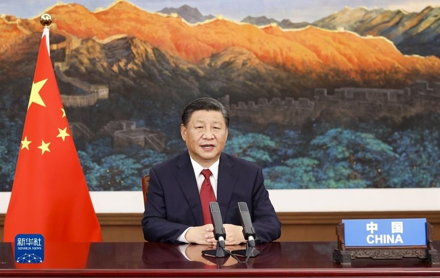 9月21日,国家主席习近平在北京以视频方式出席第七十六届联合国大会一般性辩论并发表题为《坚定信心 共克时艰 共建更加美好的世界》的重要讲话。新华社记者 黄敬文 摄