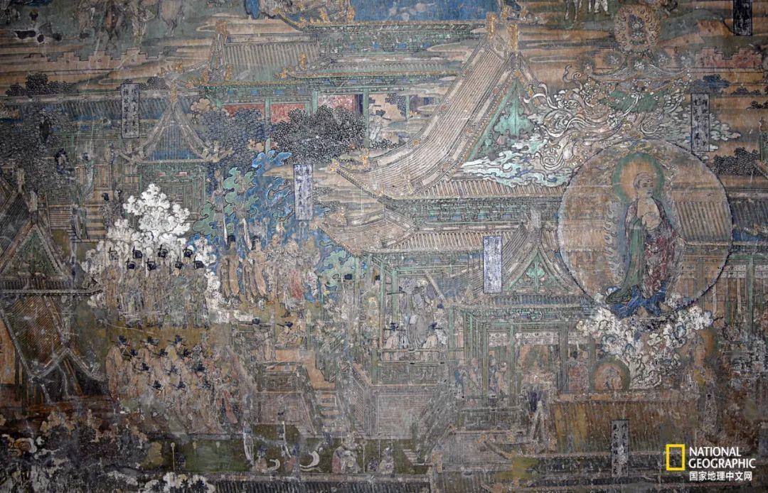岩山寺南殿西壁壁画局部,全幅壁画以舍卫城宫城为主体,四周略加配景,讲述了释迦牟尼从诞生、成长到出家、苦行、悟道的故事。金代画作传世极少,岩山寺壁画为人们了解金代绘画提供了宝贵的实物资料。 摄影:厉春