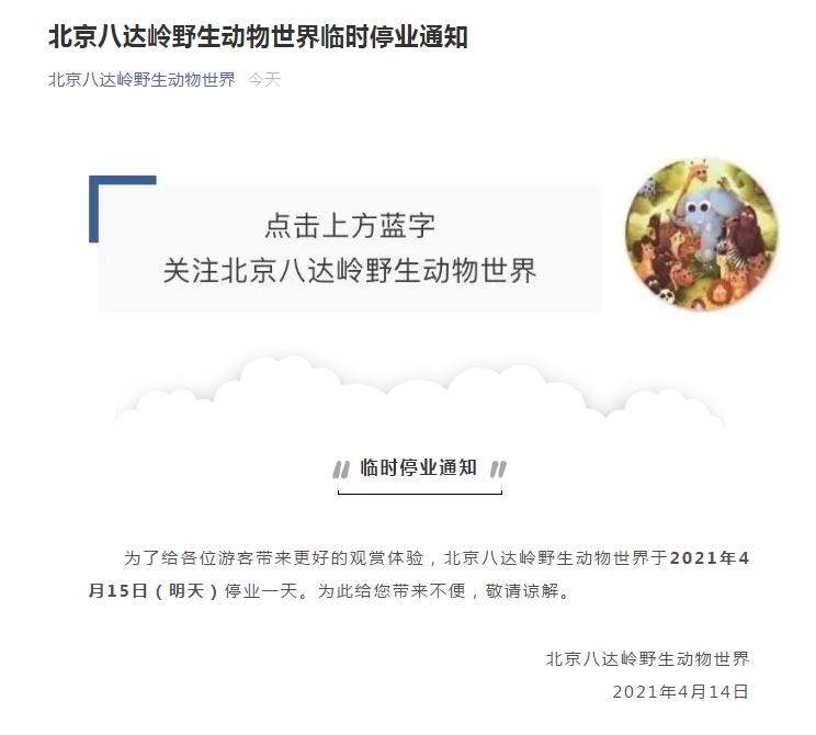 北京八达岭野生动物园又有人擅自下车 停业一天整改