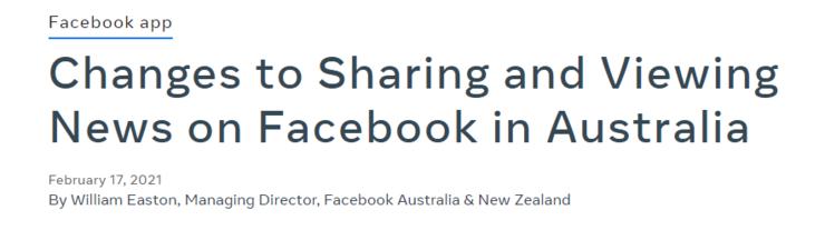 澳大利亚政府手撕Facebook!加拿大紧随其后,要求平台为新闻付费 facebook