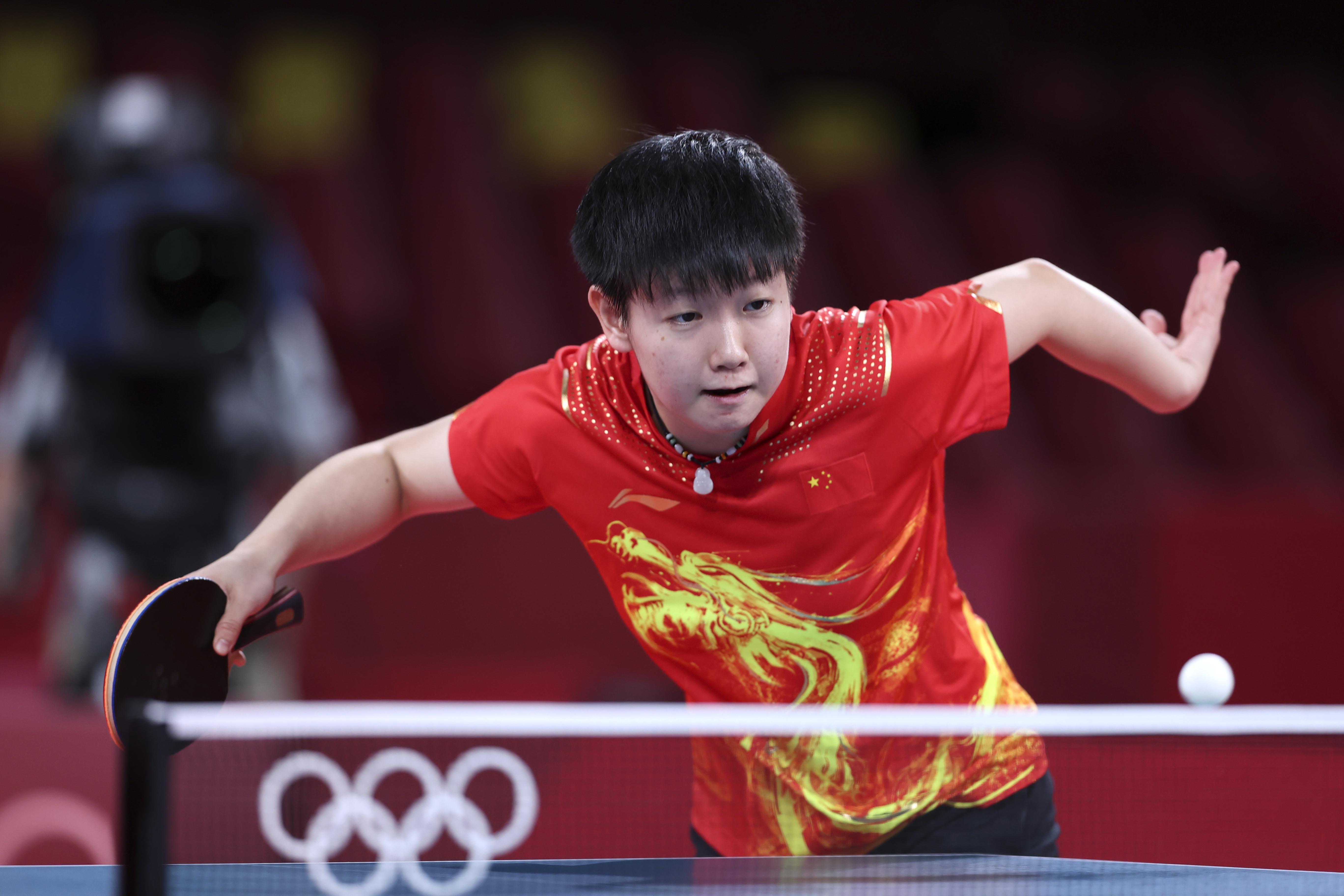 8月5日,中国队选手孙颖莎在比赛中。新华社记者杨磊摄