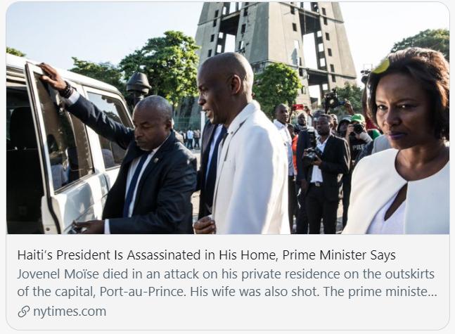 海地总统在家中被暗杀。/《纽约时报》报道截图