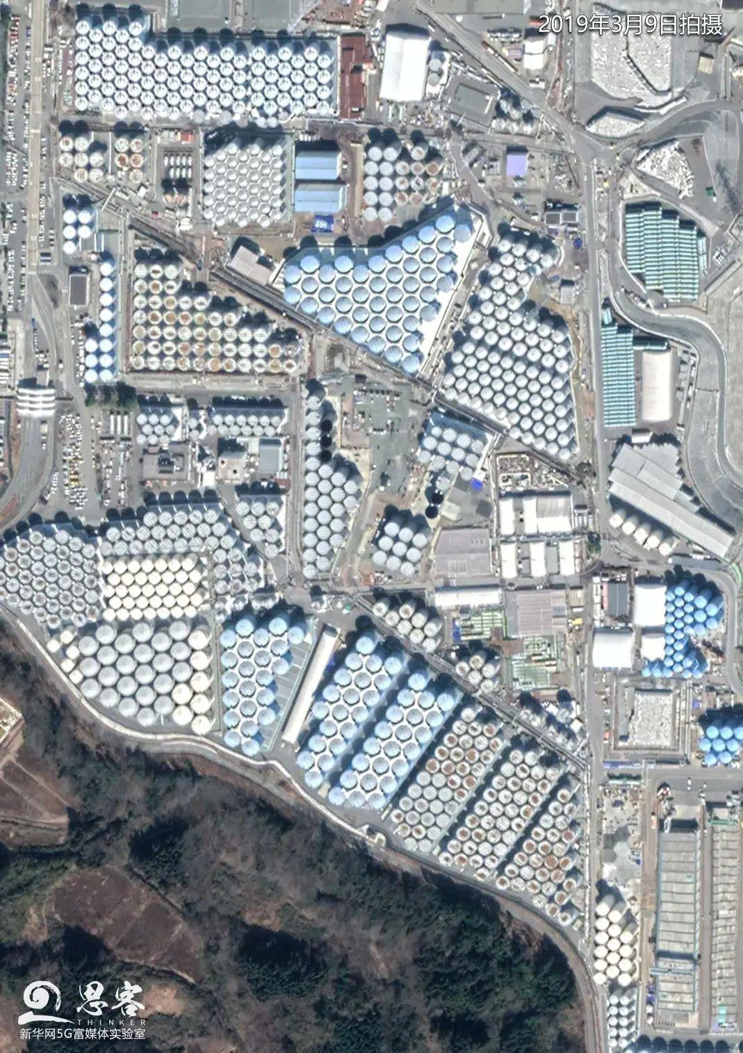▲日本福岛第一核电站内的核废水储存罐密密麻麻地摆放着。卫星数据来源:MAXAR