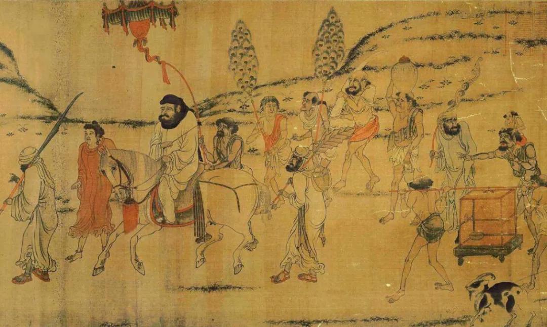 上图_ 唐·阎立本·职贡图 (局部),该画描绘的是唐太宗时,婆利国和罗刹国千里迢迢前来朝贡的情景