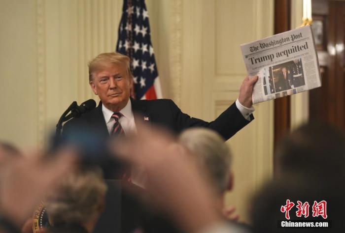 """资料图:当地时间2020年2月6日,美国总统特朗普在白宫就弹劾案""""无罪""""裁决发表讲话。中新社记者 陈孟统 摄"""