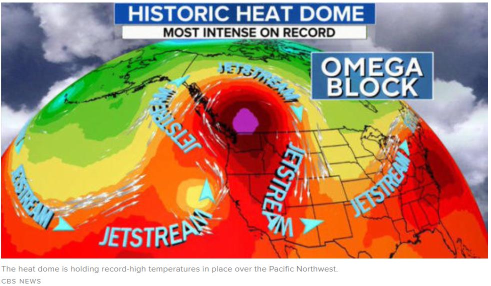 """""""热穹顶""""使太平洋西北部地区出现破纪录的高温天气。/CBS报道截图"""