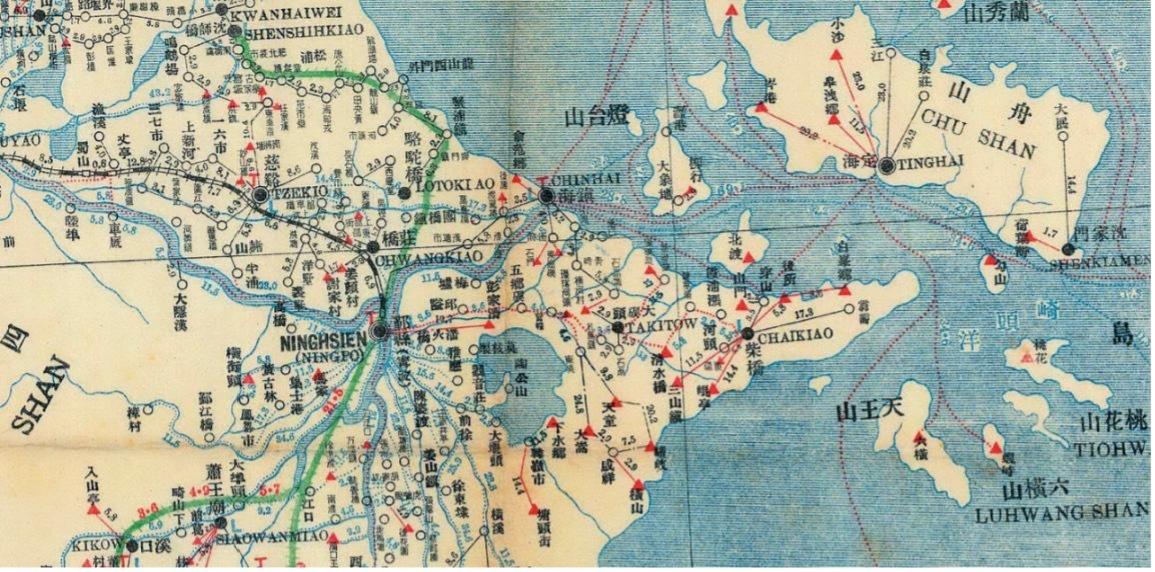 1942年浙江邮区舆图存在大量用邮政式拼音标注的小地名。《京城印记》插图。