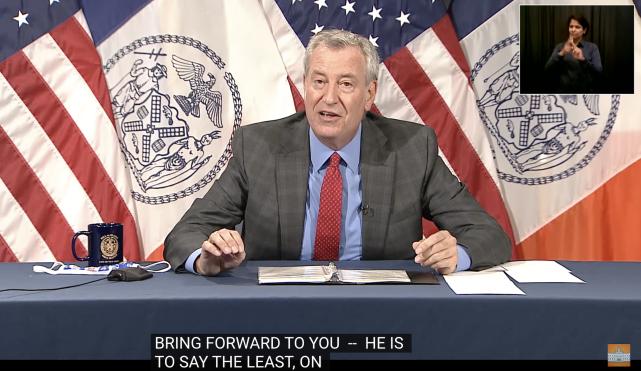 纽约市长白思豪举行记者会。市府视频截图