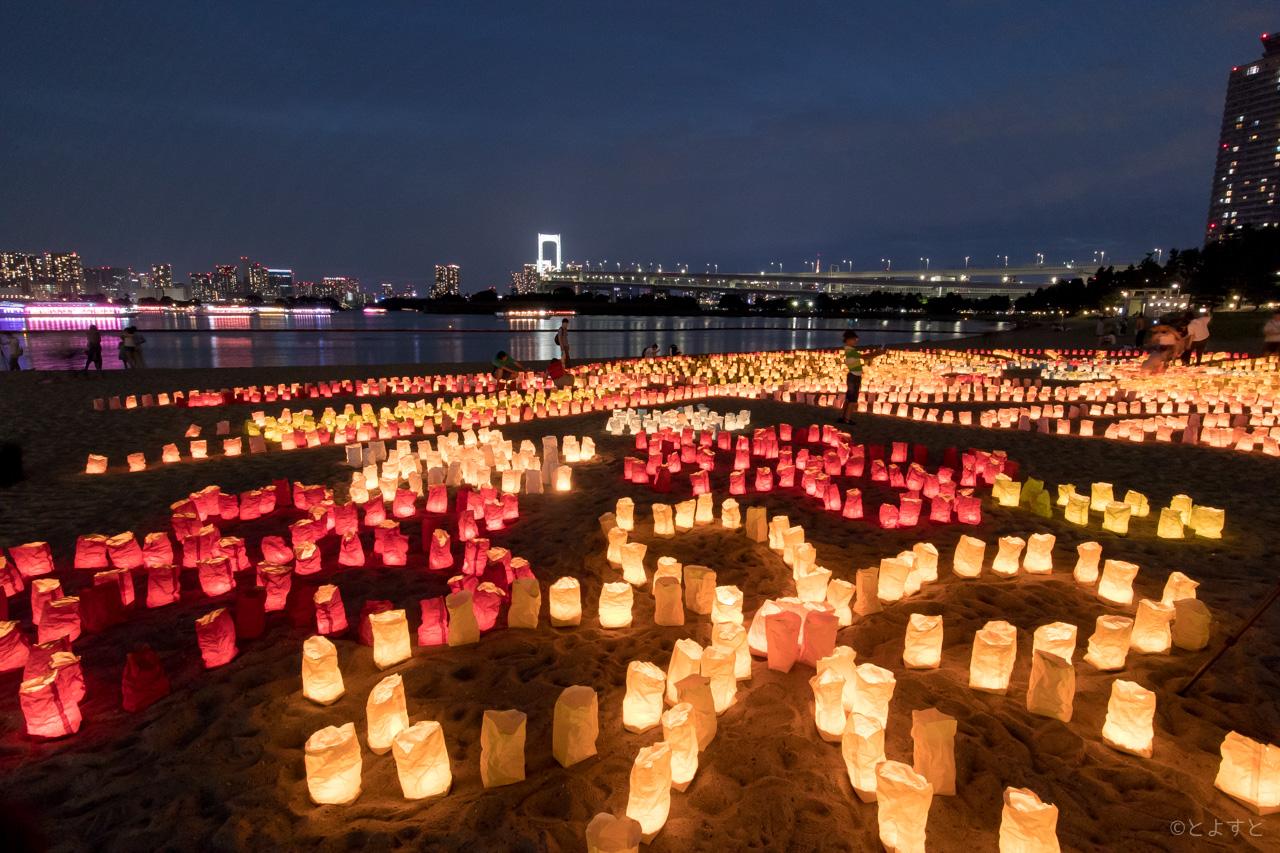 """""""海之日""""当天,东京台场会举行""""海之灯祭""""的活动。"""