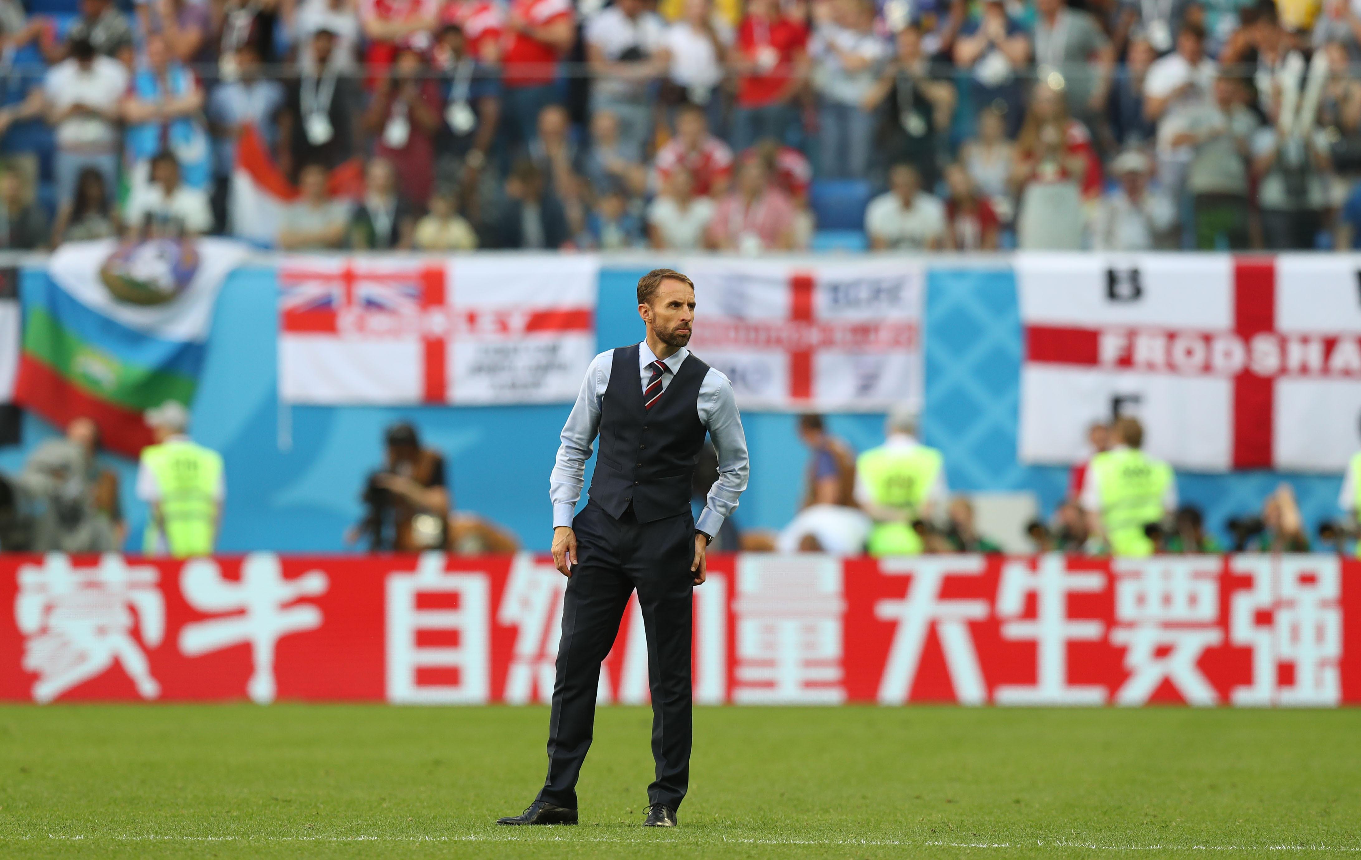 2018年7月14日,英格兰队主教练索斯盖特在比赛后。当日,在圣彼得堡进行的2018俄罗斯世界杯足球赛三四名决赛中,英格兰队以0比2不敌比利时队,最终获得第四名。新华社记者鲁金博摄