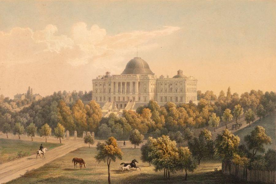 1824年时期的美国国会大厦,这时候的穹顶是由由查尔斯·布尔芬奇(Charles Bulfinch)设计的