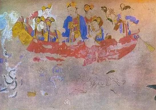 上图_ 武则天和侍女 壁画