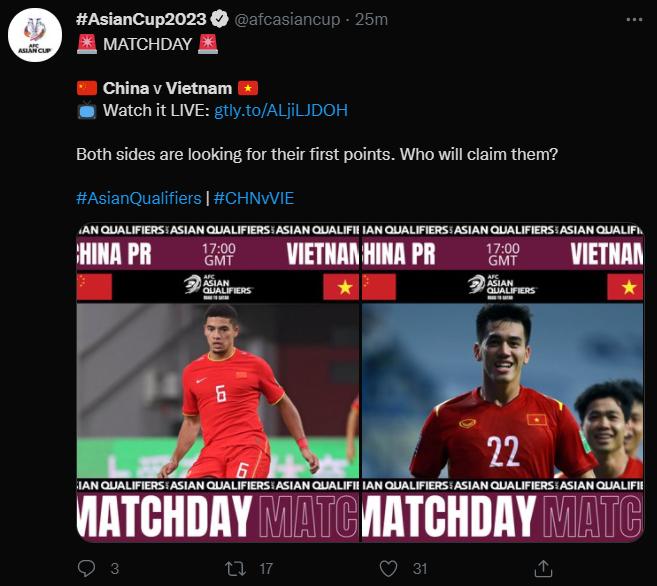 """(2023年亚洲杯官方推特赛前表示:""""比赛双方均希望取得首个小组分数。谁将拿到呢?"""")"""