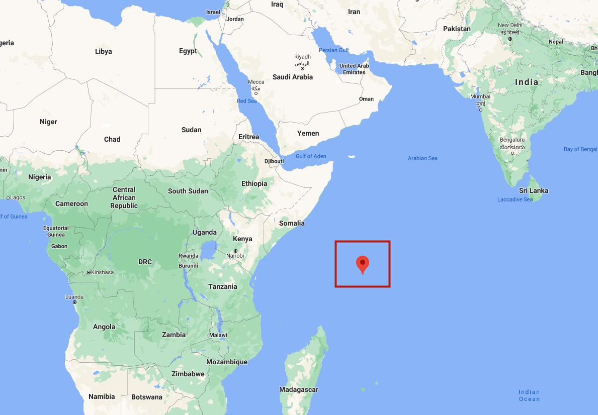 塞舌尔群岛位于非洲大陆北部,谷歌地图截图