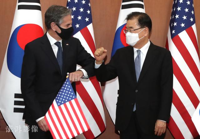 3月18日,韩国外长郑义溶会见美国国务卿布林肯 图自澎湃影像