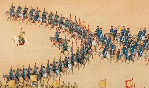 上图_ 《乾隆大阅图·列阵》里八旗军士皆身着棉甲