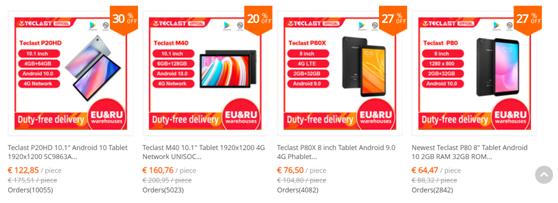 Teclast(台电)在速卖通平台上的销售页面 来源:速卖通提供